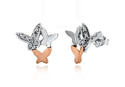 9ct or 2couleurs Diamant Boucles d'oreilles clous papillon