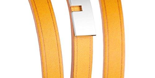 Ursul Bracelet femme en cuir et acier plaqué argent 925 U-Turn Triple, Jaune, M