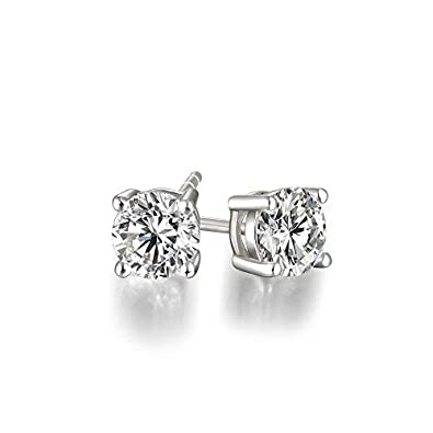 7ee1f9a99 Lourve 14k White Gold Post & Sterling Silver 4 Prong CVD Coated CZ Stud  Earrings for