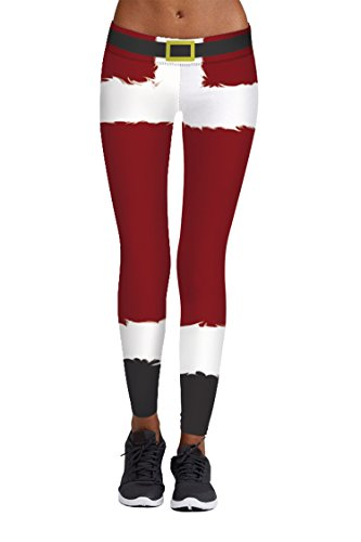 Red Striped Pants Costume (Santa Clause Role Playing Costume Tights Striped Red Green Leggings for Women X-Large Wine Red)