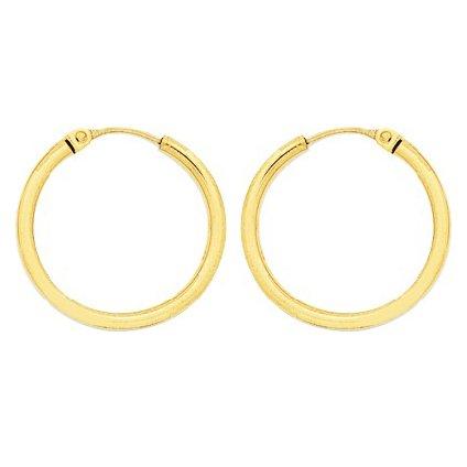 So Chic Bijoux © Boucles d'oreilles Femme Créoles Diamètre 20 mm Fil Rond 2 mm Or Jaune 750/000 (18 carats)