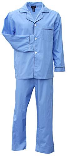Foxfire Sleepwear Solid and Plaid Long Sleeve Long Leg Set Solid Blue Size Medium - Foxfire Long Sleeve Button