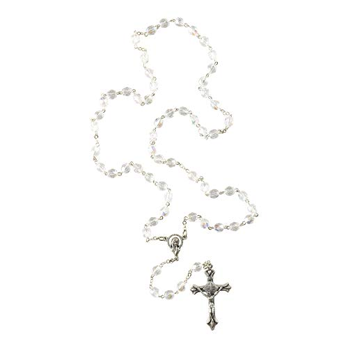 Dicksons Madonna & Child Hail Mary 16 Inch Silver Rosary with Gift Box ()