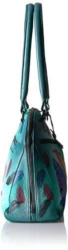 Anuschka Hand Painted Zip Around Organizer Satchel Floating Feathers, Fft-Floating Feathers by ANUSCHKA (Image #3)