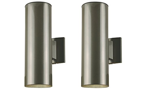 Two-Light Outdoor Wall Fixture, Polished Graphite Finish on Steel Cylinder - 2 - Graphite Finish