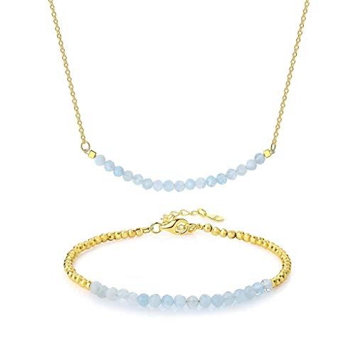 OKIKO Beaded Birthstone Jewerly Set Adjustable Bracelet Bar Necklace Genuine Gemstone Women Gift (Aquamarine Strand Bracelet)