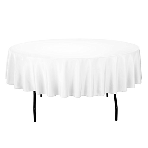 Superbe LinenTablecloth 90 Inch Round Polyester Tablecloth, White