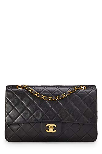 CHANEL Black Quilted Lambskin Classic Double Flap Medium - Chanel Bag Flap