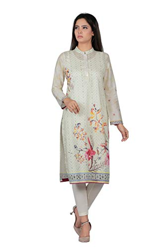(YELLOW Off White Geometric Base Print with Floral Dash Placement Digital Print Kurti Ready to wear)