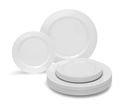 OCCASIONS 240 PACK Wedding Heavyweight Wedding Party Disposable Plastic Plates Set - 120 x 10.5'' Dinner + 120 x 7.5'' Salad/Dessert Plate (Plain White) - Disposable White
