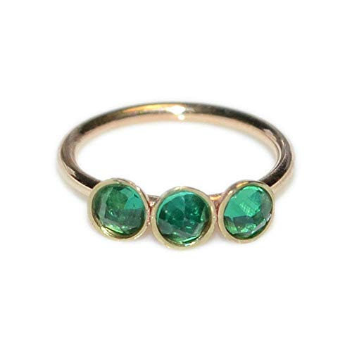 2mm Emerald Nose Ring Gold/Tragus Earring, Cartilage Hoop