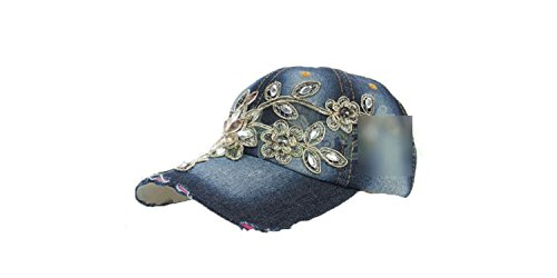 (ylovego New Spring New Shiny Fashion Women Diamond Flower Baseball Cap Lady Rhinestone Jean Hats Summer Style Sunhats YY6020 C5 Jean Diamond Hats)