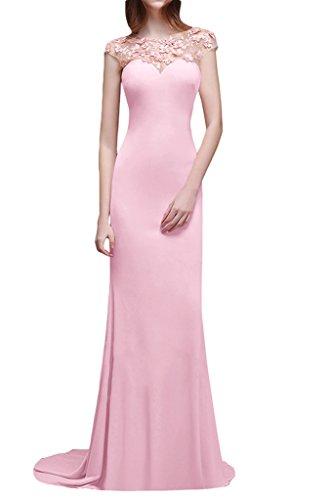 Prom Style Damen Rosa Elegant Prinzessin Spitze Blumen ALinie Lang ...