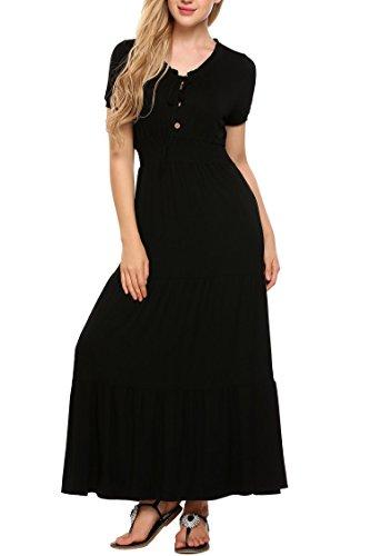 Zeagoo Women Gypsy Cap Sleeve V-Neck Smocked Waist Tiered Renaissance Maxi Dress,Black,L ()