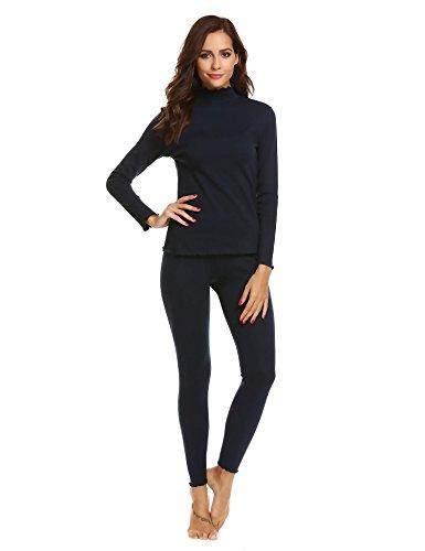 Wool Underwear Long Johns - Ekouaer Ladies Thermals Wool Long Johns Women,X-Large,Navy Blue-3