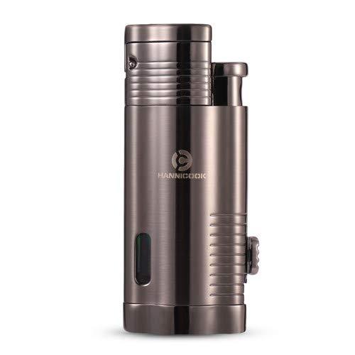 HANNICOOK Portable Torch Lighter Jet Lighter, Triple 3 Jet Flame Cigar Lighter, Windproof Refillable Butane Torch Lighter with Cigar Punch Attachment