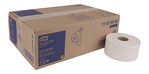 Tork Advanced 11020602 Soft Mini Jumbo Bath Tissue Roll, Perforated, 2-Ply, 7.36'' Diameter, 3.55'' Width x 8.38'' Length, White (Case of 12 Rolls, 1,075 per Roll, 12,900 Sheets) by Tork (Image #10)