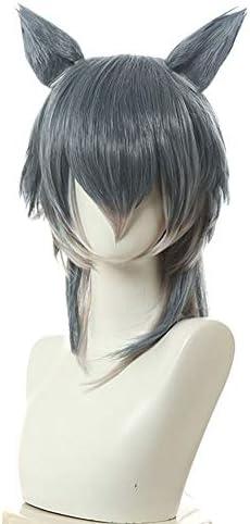 コスプレウィッグ ネット付き 耳付き レゴシ風 ハル風 グリーングレーミックス 耐熱 ウィッグ かつら wig