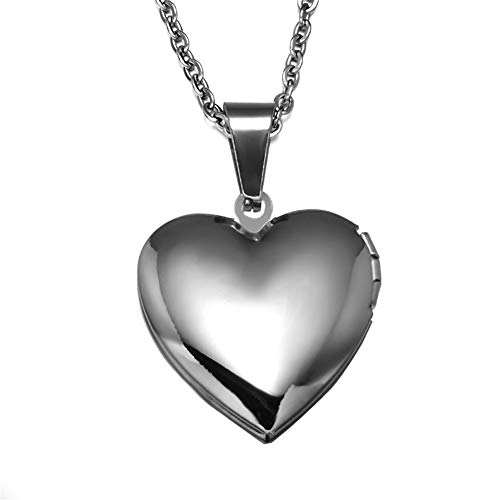 LiFashion LF Womens Stainless Steel Name Date Personalized Custom Photo Necklace Openable Heart Locket Pendant for Girlfriend Mom Daughter Wife Gift,Free Engraving Customized
