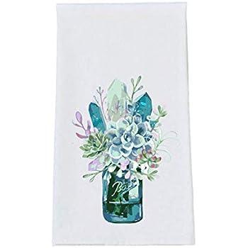 Succulents and Mason Jar Kitchen Tea Towel Farmhouse Decor Flour Sack Towels