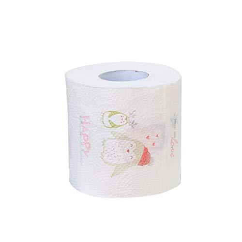 dezirZJjx Toilet Tissue Paper Roll, Christmas Penguin Santa Elk Tree Printed Paper Toilet Tissue Roll Decoration - Penguin ()