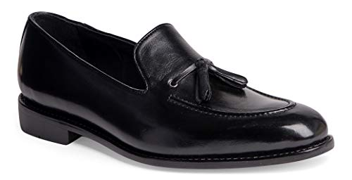 Anthony Veer Men's Kennedy Tassel Loafer Leather Shoe with Side Lacing in Goodyear Welted Construction (11 D(M) US, Black Full Grain Calfskin Leather) -