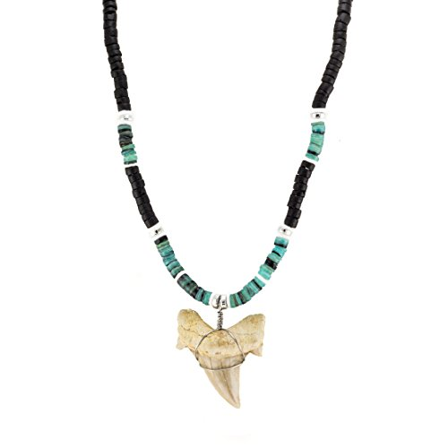 - BlueRica Shark Tooth Pendant on Black Coconut Wood Beads Necklace with Green Heishi and Puka Shell Beads (3S)