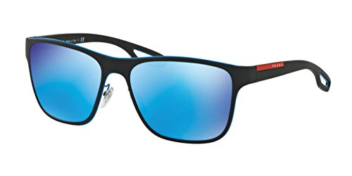 Prada Linea Rossa  Men's 0PS 56QS Azure/Black Rubber/Light Green Mirror Blue - Sunglasses Prada Blue
