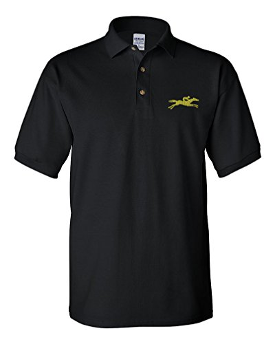 Horse Racing Embroidery Design Adult Button-End Spread Short Sleeve Unisex Cotton Polo Shirt Golf Shirt - Black, Large (Mens Racing Polo)
