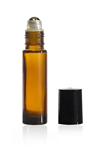 10 ml (1/3 oz) Amber Glass Roll on Bottle With Stainless Steel Ball & BPA Free Black Caps (576) by True Decor