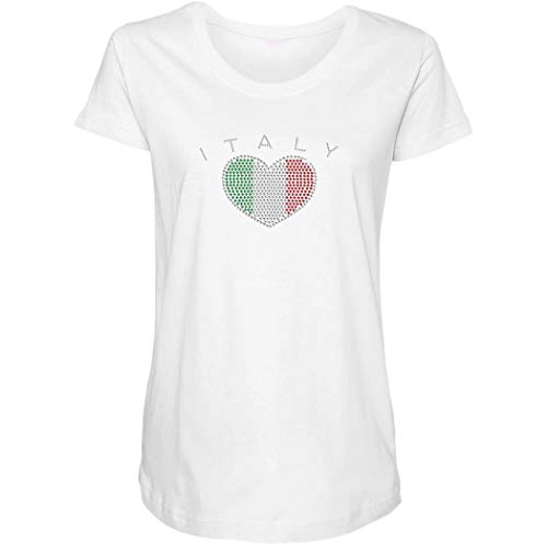 Italy Heart - Rhinestone Flag Side Ruched Maternity T-Shirt (White, XX-Large) ()
