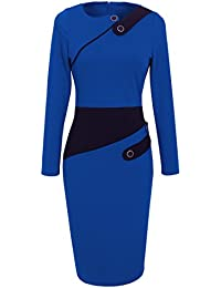 Women's Voguish Colorblock Wear to Work Pencil Dress B231