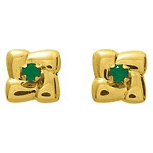 So Chic Bijoux © Boucles d'oreilles Femme Puces Fleur Quatre Pétales & Emeraude Vert Or Jaune 750/000 (18 carats)