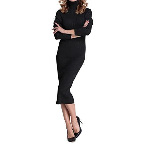 3a58706173a Rocorose Women s Turtleneck Ribbed Elbow Long Sleeve Knit Sweater Dress  delicate