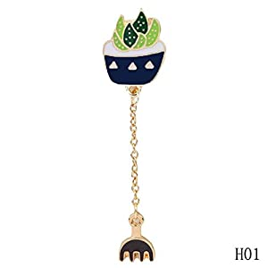 2019 FASHION!Lovely Green Bonsai Plants Enamel Brooch Pin Up Jewelry For Women Suit Hats Clips Corsages : 1