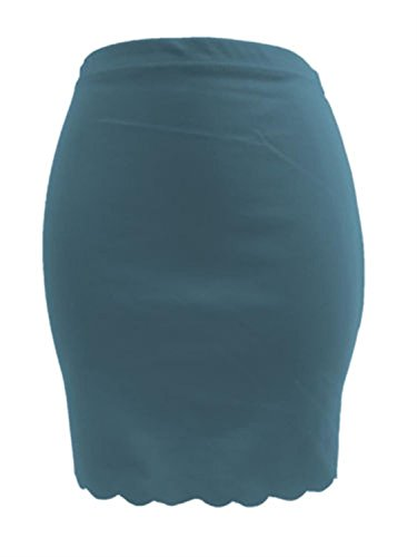New Womens Plus Size Ponti Bodycon Mini Skirts 8-22 ( Teal, S )