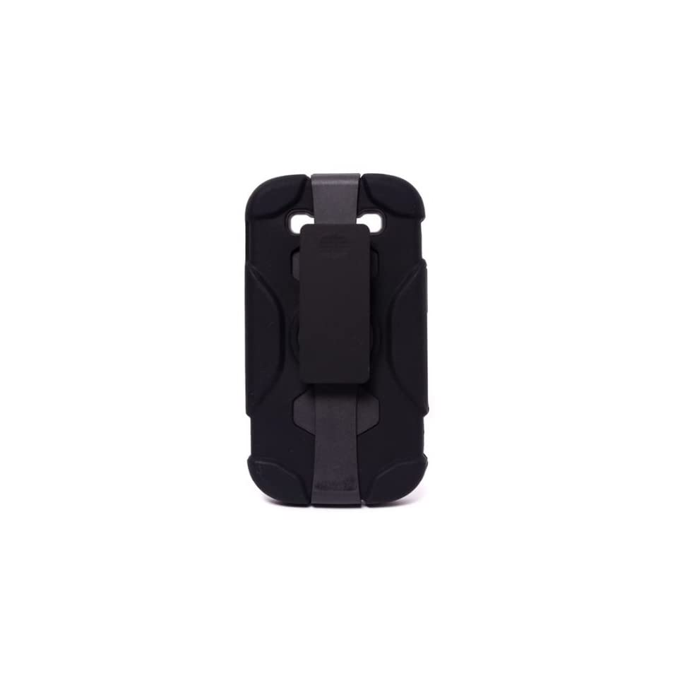 CellMACsTM Rugged Protective Hybrid Kickstand / Holster / Belt Clip Combo Case for Samsung Galaxy S3 S III   Black