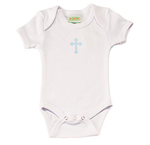 Pam Baby Baptism Bodysuit With Blue Cross Print 18 - Cross Cotton