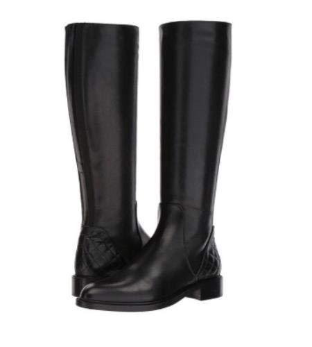 Aquatalia Geneva Women's Black Leather Tall Weatherproof Riding Boots Size 6.5