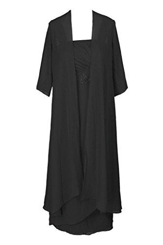 H.S.D Tea Length Mother Of The Bride Formal Evening Dress With Jacket Black