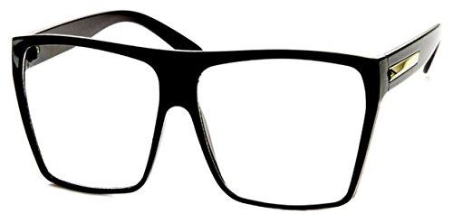 WebDeals - Square Flat Top Sunglasses Oversize Thick Retro Designer Frame… (Black, (Clear Polycarbonate Frame)
