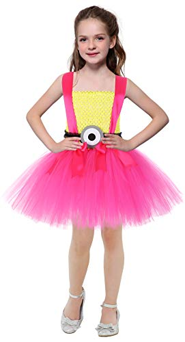 SanLai Halloween Minion Cosplay Tutu Dress Costumes for Girls Birthday Party Outfits for Toddlers 1-12Y (Yellow&Hot Pink, 2XL) -