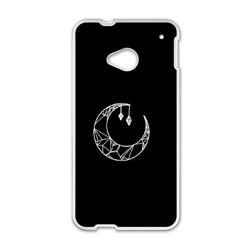 htc-one-m7-casewhite-lines-outline-of-the-moonblack-background-durable-hard-plastic-scratch-proof-pr