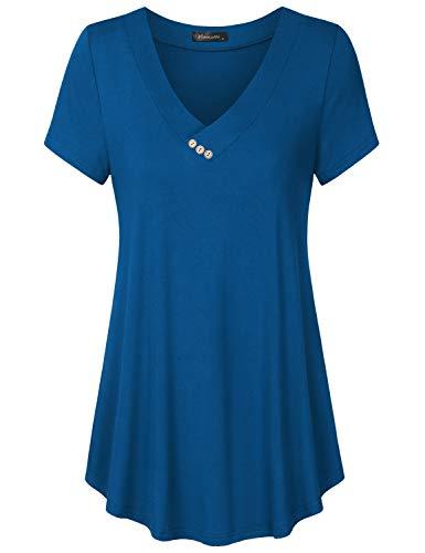 Vinmatto Women's Short Sleeve V Neck Flowy Tunic Top(XXL,Solid Deep Blue)