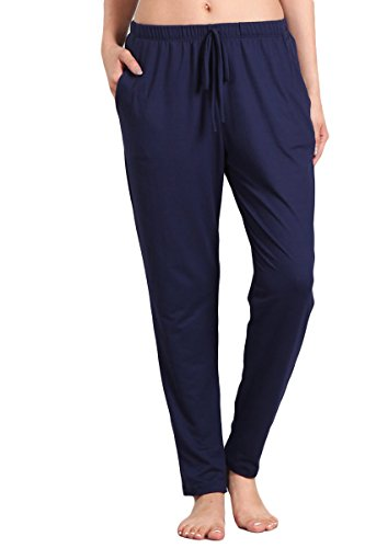 (HEYHUN Womens Athleisure Ultra Soft Knit Yoga Bottoms Casual Jogger Pants w Pockets, Navy, Large)