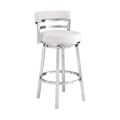 "Armen Living Madrid Contemporary 30"" Bar Height Barstool in Brushed Stainless Steel Finish and White Faux Leather"