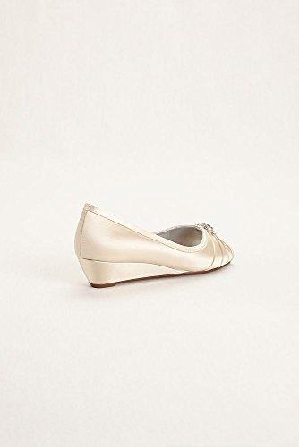 Färgbar Wedge Peep Toe Med Strass Smycken Stil Kelsey Korallrev