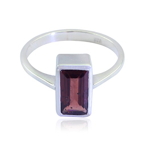 RGPL-Genuine Gems Baguette Faceted Garnet Rings - Solid Silver Red Garnet Genuine Gems Ring - Childrens Jewelry top Selling Shops Gift for Mother Gift for her ()