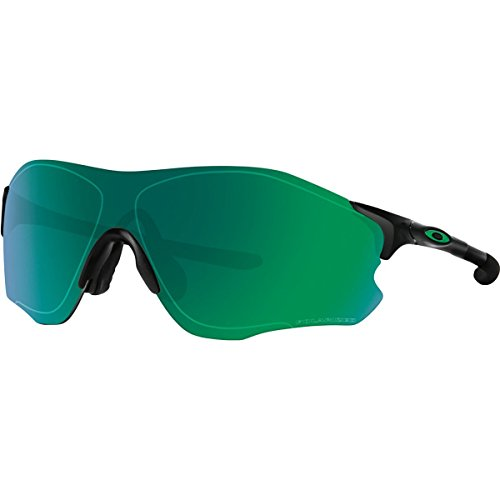 Oakley Men's Evzero Path Polarized Iridium Rectangular Sunglasses, Polished Black, 38.01 - Polarized Jade Iridium