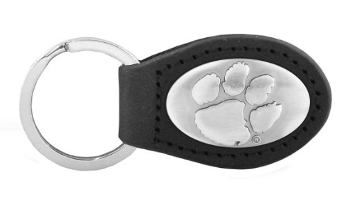 Clemson Keychain (NCAA Clemson Tigers Black Leather Concho Key Fob, One Size)
